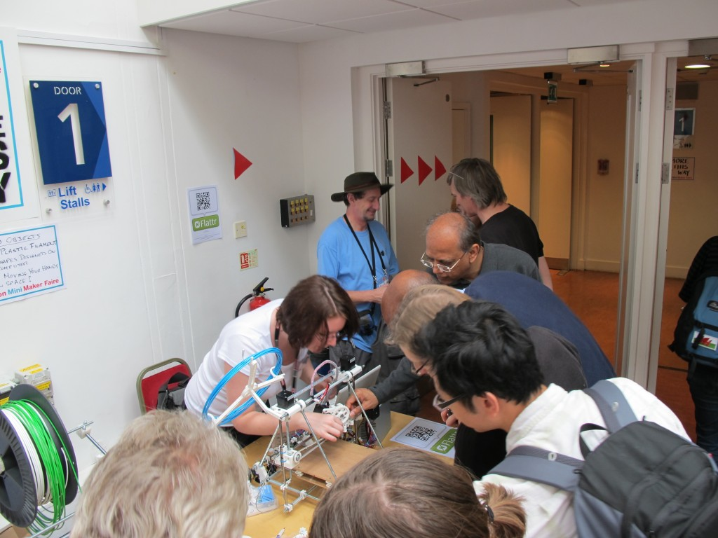 Demonstrating RepRaps at Brighton Mini Maker Faire 2011 by AndrewSleigh, on Flickr