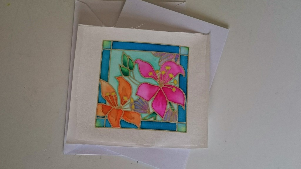 Silk Painting design awaiting mounting on card